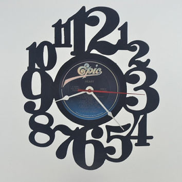 Music Art Unique Handmade Vinyl Record Album Clock (artist is Heart)