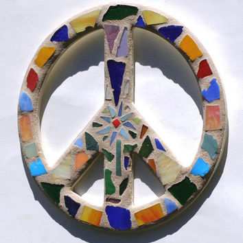 Peace Sign Wall Art Mosaic Flower Power Dorm Room Hippie Art 60's Funky Retro Decor Boho Art Woodstock