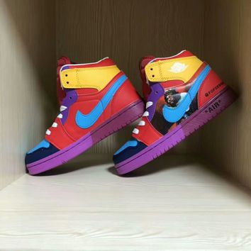 """""""Nike x One Piece"""" Unisex Casual Fashion Multicolor Cartoon Comic High Help Plate Shoes Couple Sneakers"""