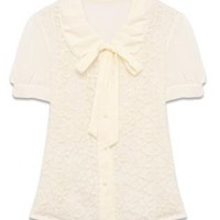 Chiffon Embroidered Lace Blouse with Bowknot Tie