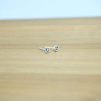 Tiny Peace Stud Silver earrings, Peace Sterling Silver Ear Studs, Peace Stud Silver earring, Minimalist Jewelry, Everyday jewelry, Cartilage