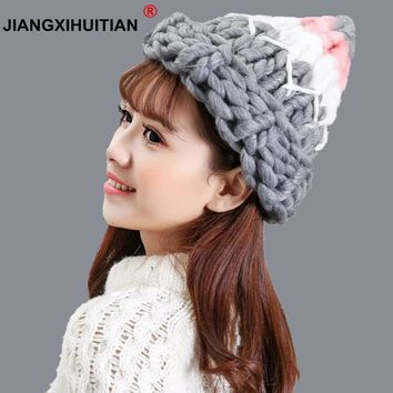jiangxihuitian Women Winter Warm wool Hat Handmade Knitted Coarse Lines Cable Hats Knit Cap Candy Color Beanie Crochet Caps