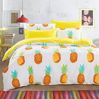 6PC Cotton Pineapple Duvet Cover & Sheets Bedding SET
