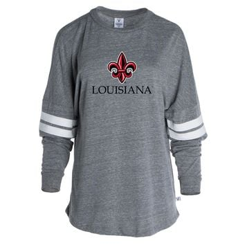 Official NCAA University of Lafayette Ragin - PPUSL10 Women's Tri-Blend Oversized Football Tee with Stripes