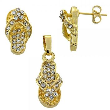 Gold Layered Earring and Pendant Adult Set, Shoes and Bee Design, with Crystal, Golden Tone