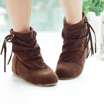 Western Women Boots Faux Suede-Leather Inner Heels Ankle tassel Slip On