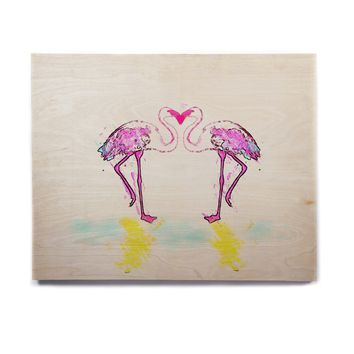 "Oriana Cordero ""Pink Love"" Flamingo Birchwood Wall Art"