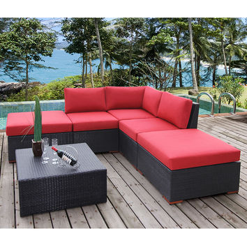 Coral Gables 6 Piece Modular Corner Sectional Patio Set Multiple Colors