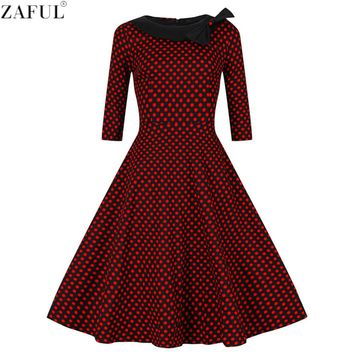 ZAFUL Women Retro Dress Vintage Rockabilly Hepburn Dot Bowknot Ball Gown Swing Party Prom Cocktail Tea Female Vestidos Dresses