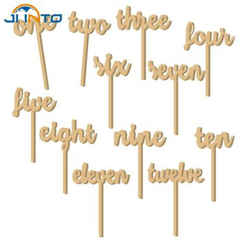 12pcs/set Elegant Small Size Cute Wooden Wedding Party Supplies Place Holder Table Number Figure Card Digital Seat Decor