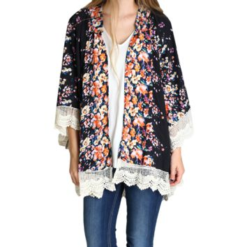 Umgee Black Flower Bomb Kimono with Lace Trim