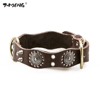 T-MENG Brand Genuine Leather Dog Collars Rivet Studded 3 Sizes High Quality Necklace Wavy Personalized Dogs Accessories Supplies