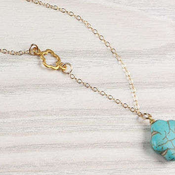 "Turquoise flower necklace, asymmetrical necklace, turquoise gold necklace, chrysanthemum necklace, tiny flower necklace, wedding, ""Leon"""