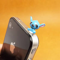 Cute 3D Blue Baby Lilo Stitch Anti Dust Plug 3.5mm Phone Accessories Charm Headphone Jack Earphone Cap for iPhone 4 4S 5 iPad HTC Samsung