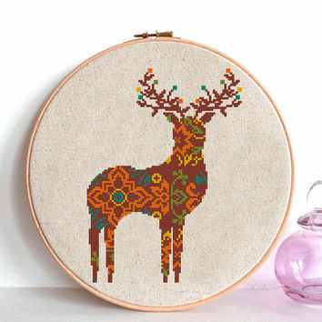 Mandala  Deer Cross Stitch pattern modern, Wild Deer Pattern, Mountain Forest Woodland Animals, Animal Cross Stitch geometric