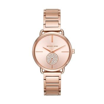 ONETOW Michael Kors Watches Portia Stainless-Steel Two-Hand Sub-Eye Watch