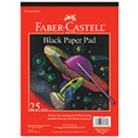 "Faber Castell Paper Black Paper Sketch Pad 9"" x 12"" 40 sheets Made from 50% post-consumer recycled materials"