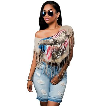 Tassel Crop Top Women T shirt Print Plus Size Tees Europe Style Batwing Sleeve Sexy T shirts Women Femme Summer Tops Cropped
