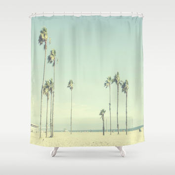 Venice Beach Palms SHOWER CURTAIN California Los Angeles Photography Bathroom Decor