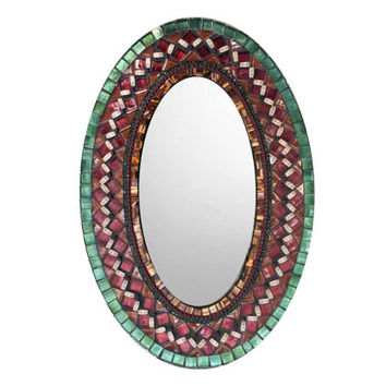 Oval Wall Mirror, Mosaic Mirror, Green Brown Red, Accent Mirror