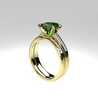 Green tourmaline engagement ring set, diamond ring set, curved wedding band, tourmaline engagement, unique, gold rings, matching ring set