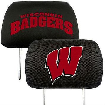 Wisconsin Badgers 2-Pack Auto Car Truck Embroidered Headrest Covers