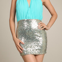 Embellishment Sequin Mini Dress in Aqua