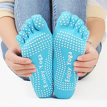 Enjoy Yoga - Grip Five Toes Socks Funny Crazy Cool Novelty Cute Fun Funky Colorful