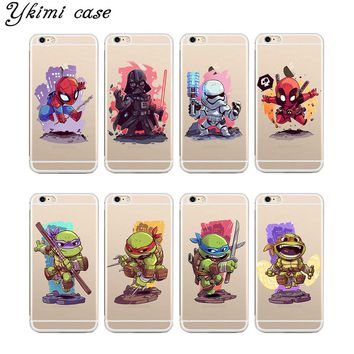 Fashion cases for iphone 4 4s 5 5s SE 5c 6 6s 7 plus case cover Q version ninja turtle black warrior phone transparent soft TPU