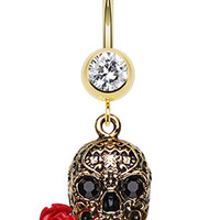 Golden Colored Skull Rose Belly Button Ring