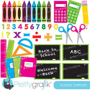 School supplies clipart for scrapbooking, commercial use, vector graphics, digital clip art, images - CL549