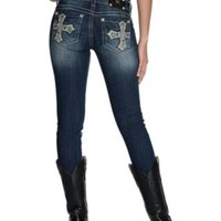 Miss Me Medium Wash Cross with Sequins and Studs Open Pockets Skinny Jeans