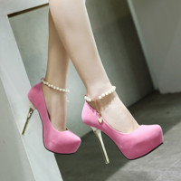 Pearls Buckle High Heels