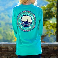 Tunisian Logo Long Sleeve Tee in Turquoise by The Southern Shirt Co. - FINAL SALE