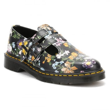 Dr Martens Womens Black Darcy Floral Backhand 8065 Shoes