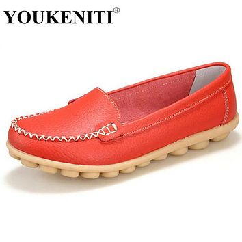 YOUKENITI Genuine Leather Shoe Brand Ballet Women Flat Shoes Flexible Nurse Peas Loafer Shoes Woman Appliques Driver Shoes JJ801