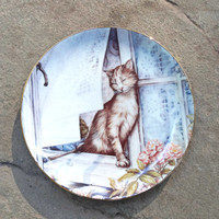 "Cat Plate ""Summer Breeze"" Zoe Stokes Limited Edition 1980s Made in USA"