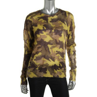 MICHAEL Michael Kors Womens Petites Wool Blend Camouflage Pullover Sweater
