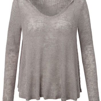 Womens Lightweight Long Sleeve Knit Sweater Shirt with Hoodie