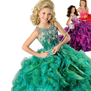 Green Spaghetti Beads Ball Gown Kids Prom Party Dresses 2017 Ritzee Girls Pageant DressesFlower Girls Dresses EM04964