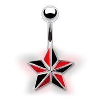 14g Black & Red Star Non Dangle Belly Button Ring Navel Body Jewelry Piercing with Surgical Steel Curved Barbell 14 Gauge