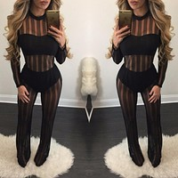 Women Striped Slim Bodycon Jumpsuit Playsuit see through Bodysuit Sexy Club Elegant Rompers Womens Mesh Jumpsuit