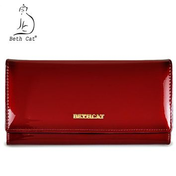 Beth Cat Women Wallets Genuine Leather Wallet Female Hasp Long Purses Solid High Quality Caeds Hoder Clutch Bag Ladies Handbags