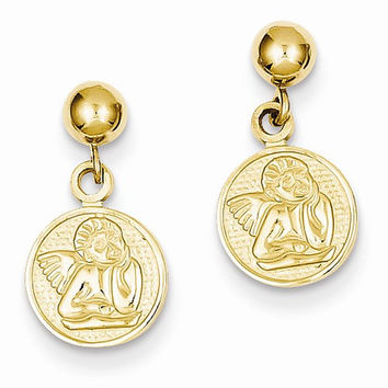 14k Yellow Gold Polished Raphael Angel Earrings