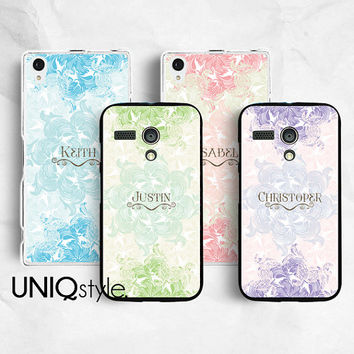 Moto G Moto X Sony Xperia Z Xperia Z1 personalised name initial plastic cover case, custom made floral pattern case for Sony Motorola, C08