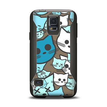 The Blue and Pink Vector Faced Cats Samsung Galaxy S5 Otterbox Commuter Case Skin Set