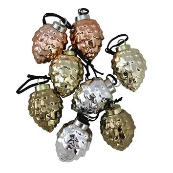 Set of 8 Ceramic Pine Cone Ornaments with a Lustrous Metallic Finish 2.75""