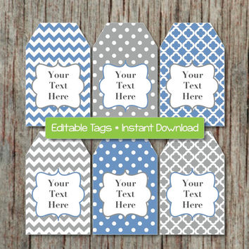 Editable Gift Tags Printable Party Tags Editable JPG File Ocean Blue Grey INSTANT DOWNLOAD Digital Collage Shower Birthday Decorations 003