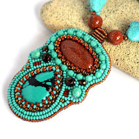 Turquoise Copper Bead Embroidered Necklace Goldstone Necklace Beadwork Pendant Necklace Seed Bead Necklace Bead embroidery jewelry Beaded