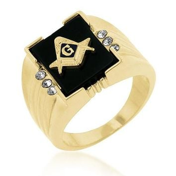 0.8ct CZ 18k Gold Onyx Masonic Men's Ring